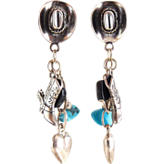 Carolyn Pollack Sterling Silver Cowgirl Southwest Charm Earrings - Boots, Hat, Turquoise Nuggets, Onyx Hearts