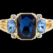 Clamper Bracelet with Lg Sapphire Blue Crystal & Blue Topaz Crystal Side Stones