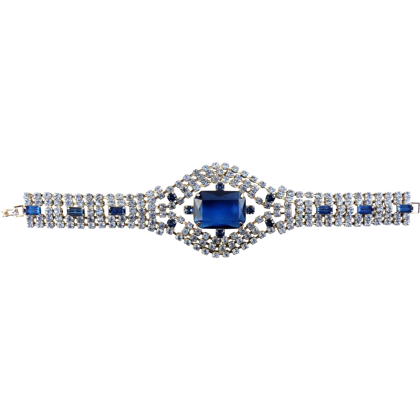 Wide 1960's Multi Row Blue & Sapphire Rhinestone Bracelet - Lg Center Glass Jewel