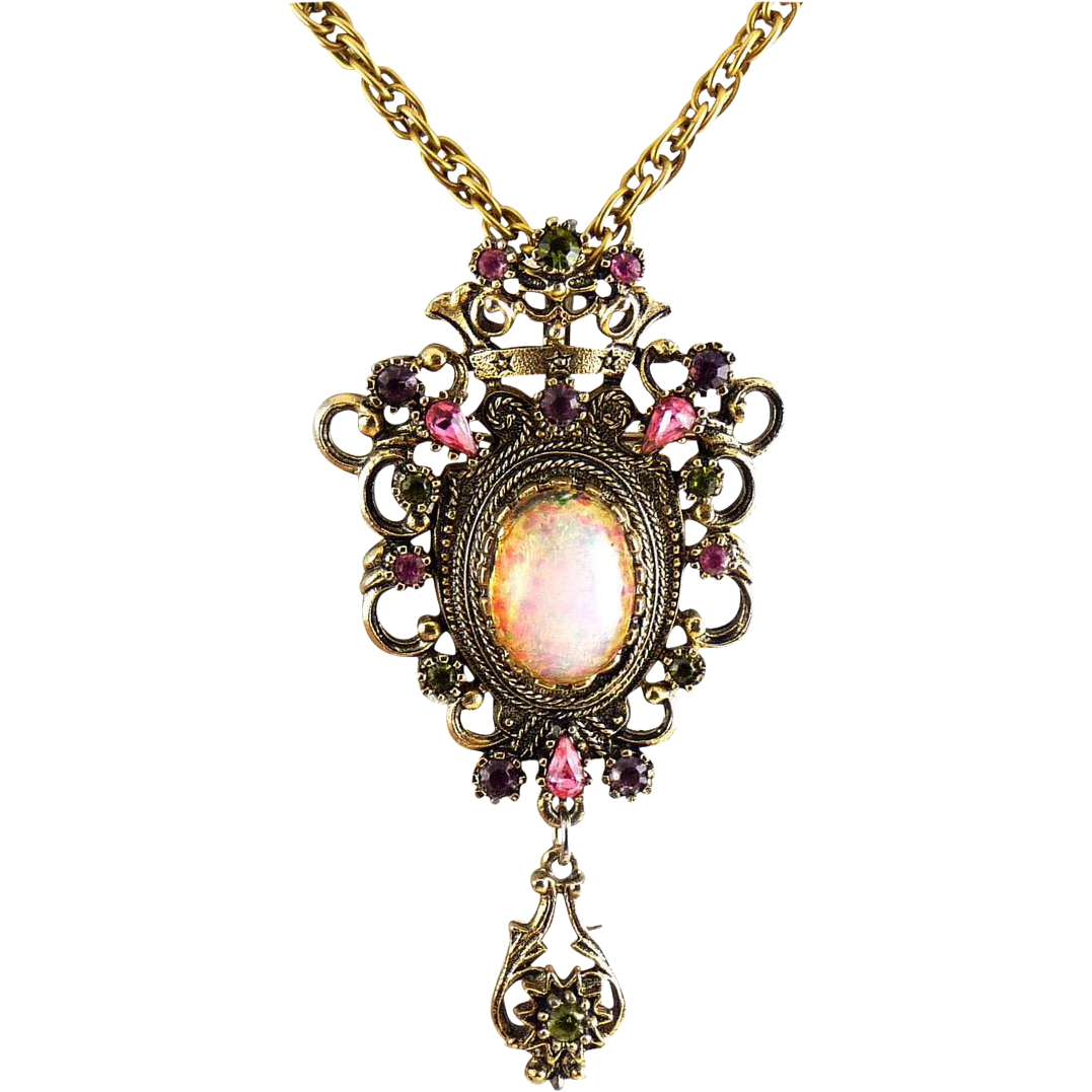 Sarah Coventry Faux Opal & Rhinestones Dangle Pin/ Pendant - Crowned Medallion