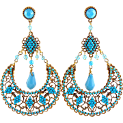 Sequin NYC Turquoise Jeweled Bohemian Hoop Earrings, Exotic Eastern Style
