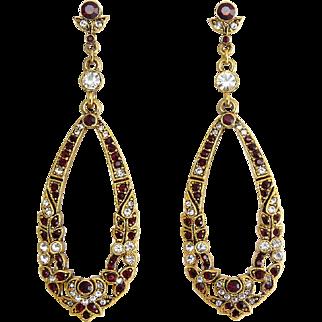 Sequin NYC Long Ruby Red & Crystal Floral Design Hoop Earrings, Pierced