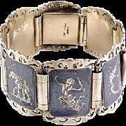 Vintage SIAM Thailand Sterling Silver Niello Bracelet - Dancers & Elephant