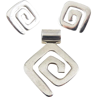 Silpada Sterling Silver Geometric Modernist Maze Pendant & Earrings