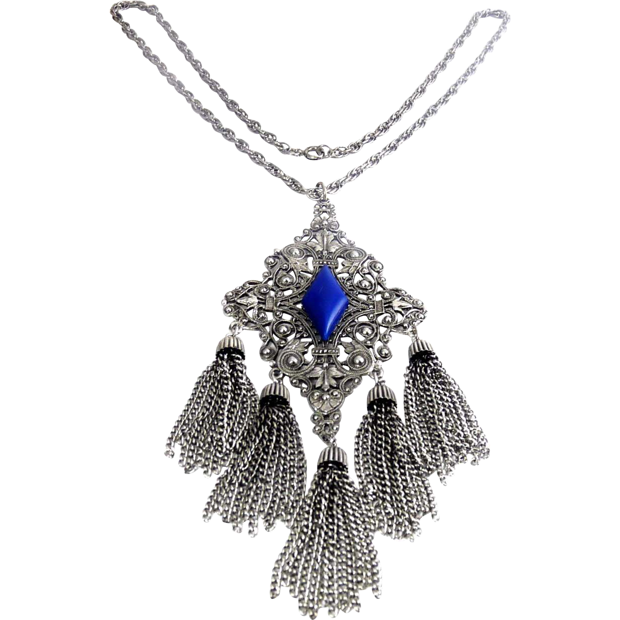 Vintage Big Rococo Medallion Pendant with Tassels & Lapis Glass, Necklace