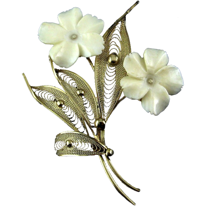 1960's SORRENTO Sterling Silver Vermeil Carved Flowers Pin