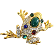 Sphinx Rhinestone Pave' Frog Pin with Faux Jade, Emeralds & Rubies