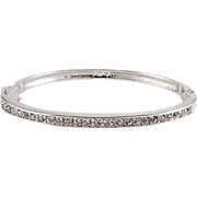 Swarovski Crystal Single Row Hinged Bangle Bracelet, Rhodium Plated