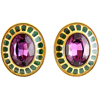 Swarovski Large Oval Earrings with Amethyst Purple Stones, Emerald Green Enamel - Clip On