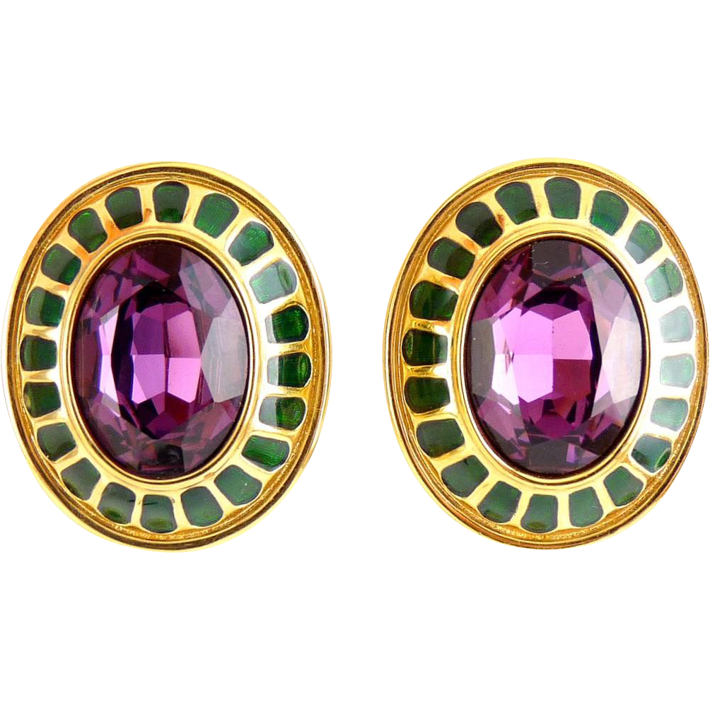 Swarovski Large Oval Earrings with Amethyst Purple Stones, Emerald Green Enamel - Clip On