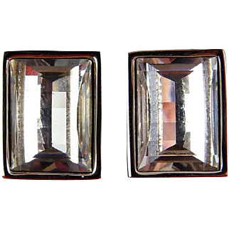 Swarovski Checkerboard Facet Crystal Rectangle Earrings - Clip On