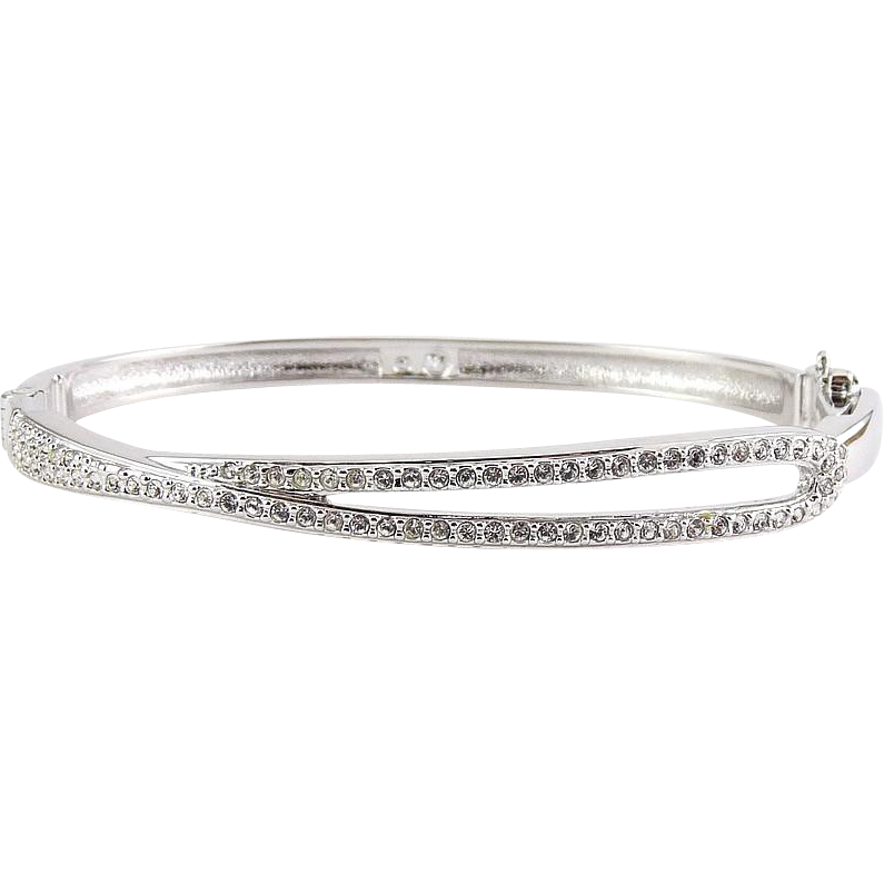 Swarovski Crystal Loop Asymmetrical Hinged Bangle Bracelet - Rhodium-Plated