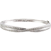 Swarovski Edith 2-Row Crystals Criss Cross Hinged Bangle Bracelet