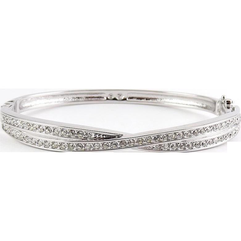 Swarovski Edith 2-Row Crystals Criss Cross Hinged Bangle Bracelet