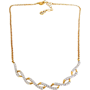 Swarovski Twisted Gold Ribbons Necklace with Crystal Pave'