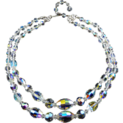 Swarovski Oval 5200 Shape AB Crystal Graduated Beads 2-Strand Necklace