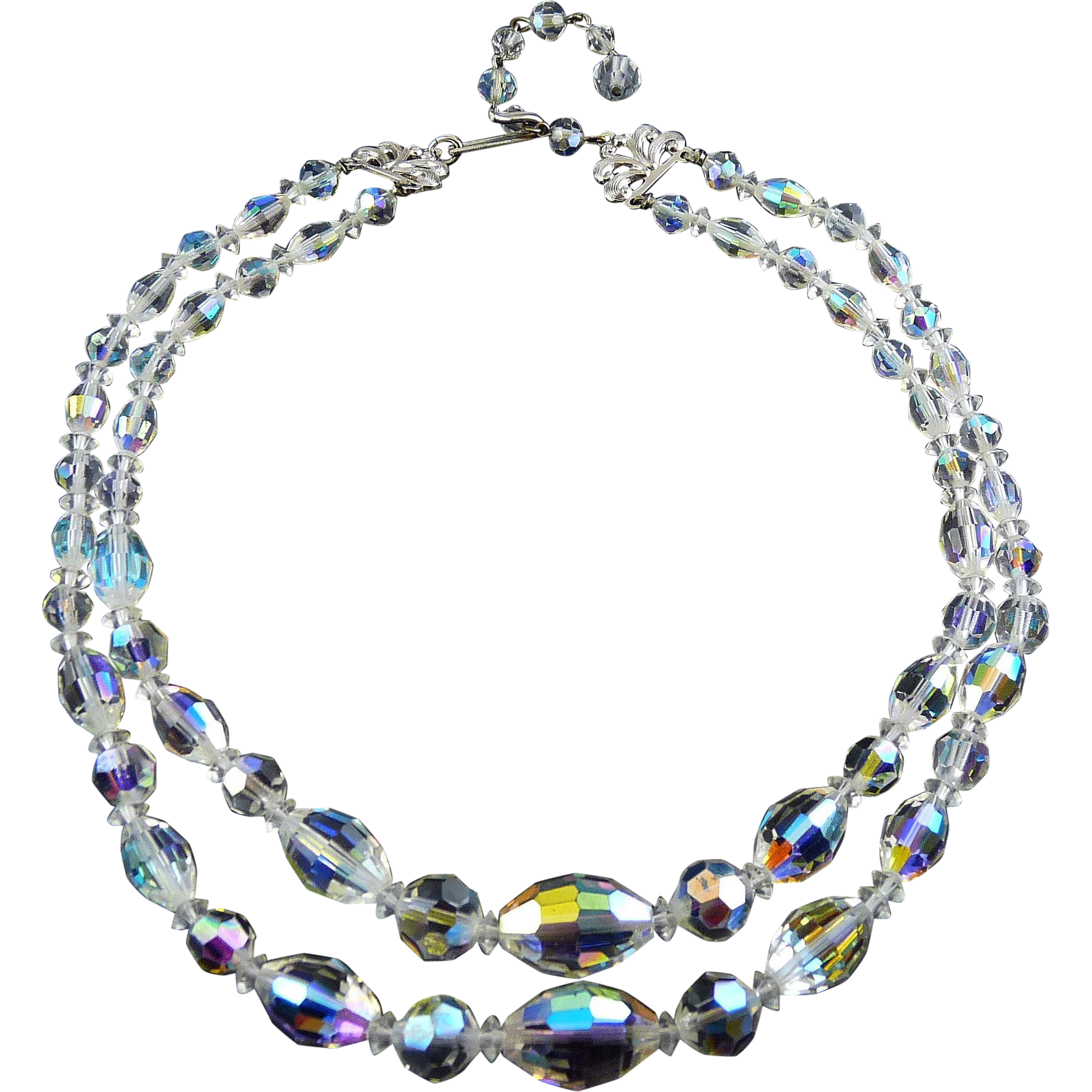 Swarovski Oval 5200 Shape AB Crystal Graduated Beads 2-Strand Necklace