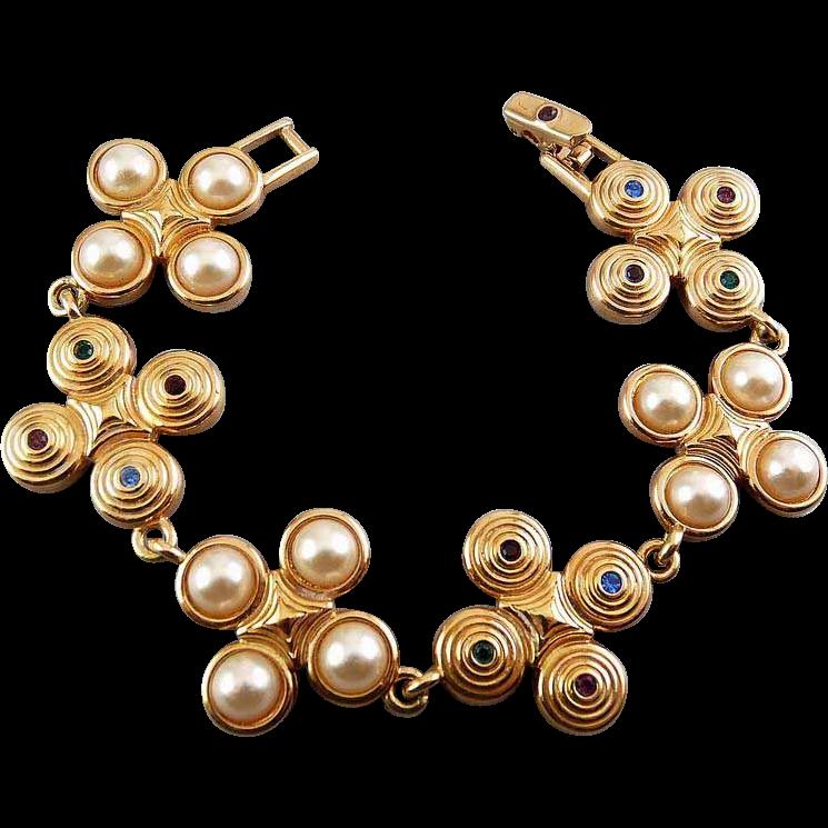 Swarovski Crystal & Faux Pearl Clover Quatrefoil Links Bracelet