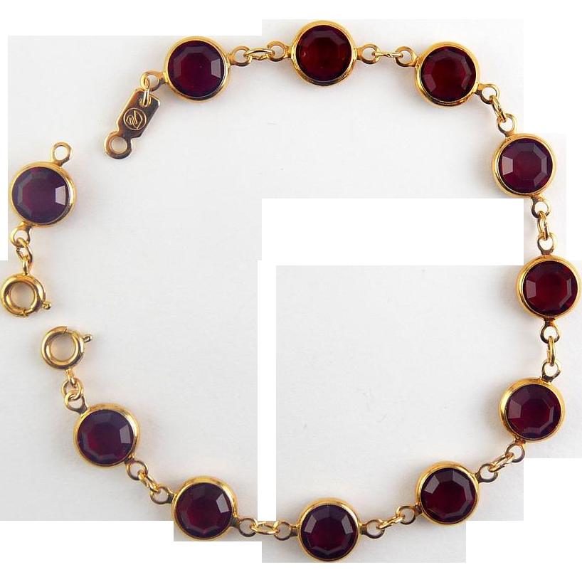 Swarovski Ruby Red Crystals Line Bracelet - Collet Set, Extra Link Extender Clasp