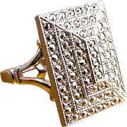 Theda Signed Sterling Silver & Marcasites Art Deco Ring - Rectangular Face