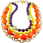 TOVA Signed Multi Strand Gemstone, Rhinestone & Glass Beads Necklace