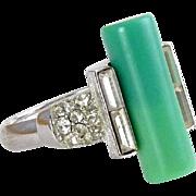 TRIFARI Art Deco Style Faux Jade & Rhinestone Ring - Adjustable