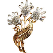 Trifari 1950's Gold & Rhodium Plated 3 Flower Pin - Rhinestone Pave & Baguettes