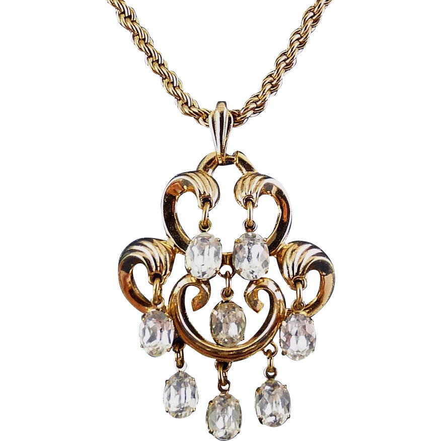 Trifari 1950's Chandelier Pendant Necklace with Oval Rhinestone Drops- Adjustable Length