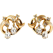 Trifari 1950's Swirled Waves Gold Tone Earrings with Oval Rhinestone Drops