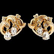 Trifari 1950's Swirled Waves Gold Tone Earrings with Oval Rhinestone Drops