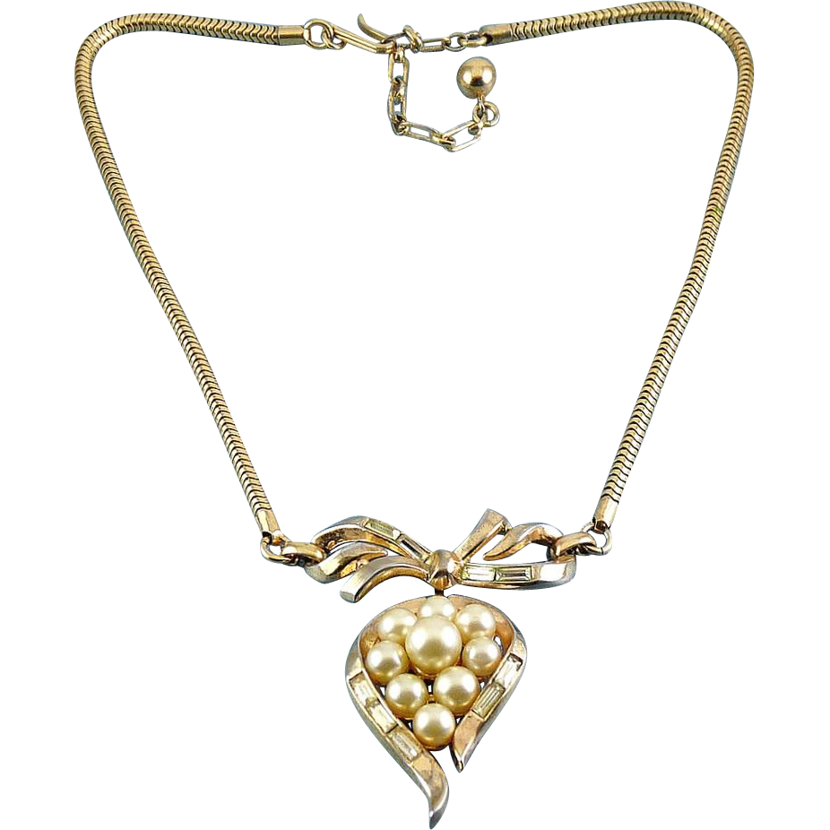 1950's Trifari Pearl Rhinestone Bow and Pearl Teardrop Pendant on Snake Chain