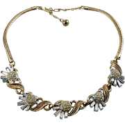 Trifari 1950's Gold & Rhodium Plated Flower Necklace - Rhinestone Pave & Baguettes, Adjustable