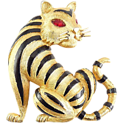 Vintage Trifari Tiger with Black Enamel Stripes Pin, Red Eyes