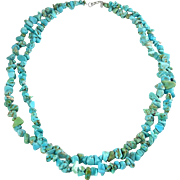 Turquoise Nuggets 2-Strand Necklace with Sterling Clasp, 19 Inch Length