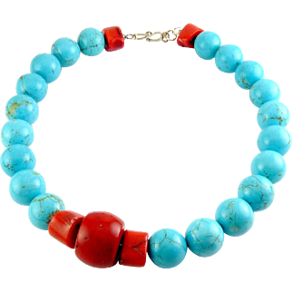Jumbo Turquoise & Bamboo Coral Beads Necklace, Sterling Clasp
