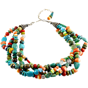 Colorful 4 Strand Natural Gems Necklace, Turquoise, Coral, Jasper & More, Sterling Extender Clasp