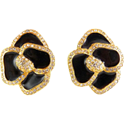 VALENTINO Large Black Enamel & Rhinestone Flower Earrings - Clip On