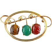 Van Dell Gold-Filled Gemstone Scarabs Fruits Pin - Tigers Eye, Green Chalcedony, Carnelian