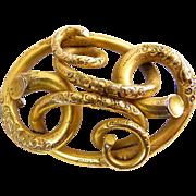 Large Victorian Gold-Filled Engraved Love Knot Brooch Pin, Civil War Era