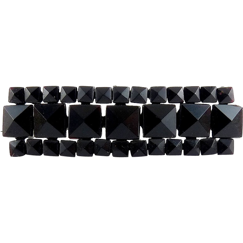 Victorian French Jet Black Glass Bar Pin - Faceted Squares, Riveted on Steel