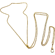 Victorian Gold-Filled Watch Chain with 10K Gold & Pearl Slider - 51 Inches Long