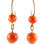 Antique Victorian Red Coral Bead & 14K Rose Yellow Gold Drop Earrings