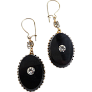 Victorian Style Black Glass & Rhinestone Drop Earrings - Pierced Wires