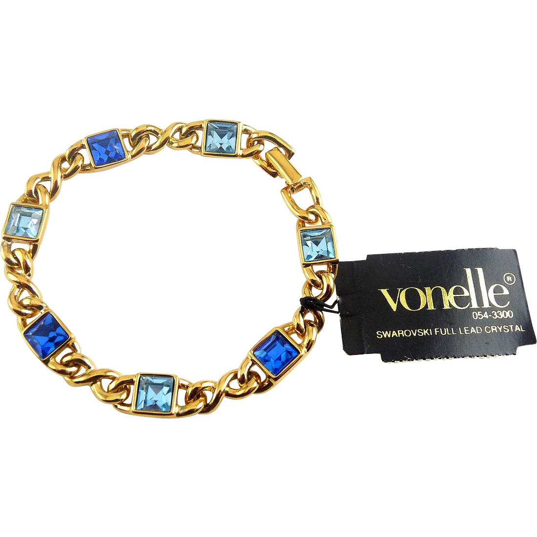 Vintage Swarovski VONELLE Gold Plated Bracelet with Blue Austrian Crystals - Original Tag