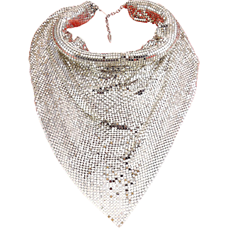 Whiting & Davis Deluxe Jumbo Mesh Bib Necklace with Padded Neck Roll Collar