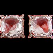 WARNER Large Crystal & Rhinestone Set Square Earrings - Clip On
