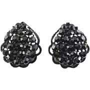 1960's WEISS Signed Black Rhinestone in Black Japanned Enamel Pear Teardrop Earrings, Clip-On