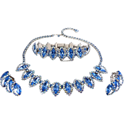 1960's WEISS Blue & AB Rhinestones Necklace, Bracelet & Earrings Set