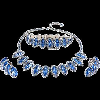 1960's WEISS Blue & AB Rhinestones Necklace, Bracelet & Earrings Set
