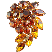 WEISS Paisley Rhinestone Pin - Yellow Citrine, Orange Topaz, Smoky Quartz Hues